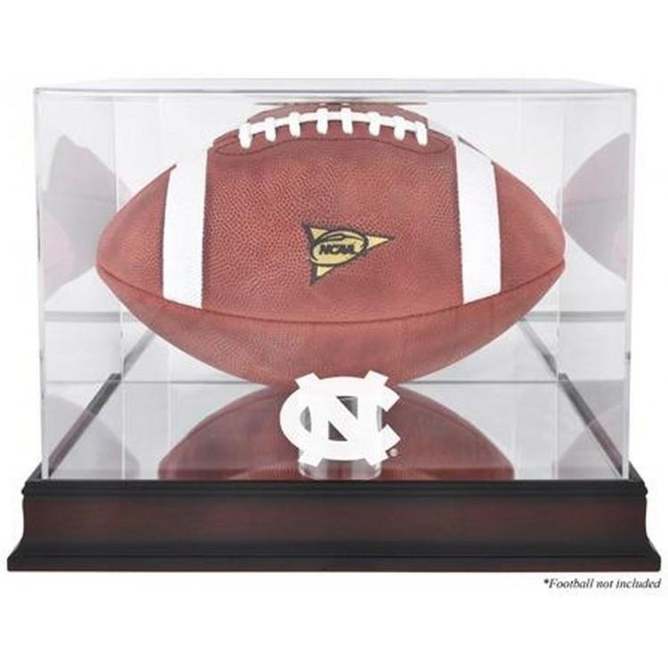 North Carolina Tar Heels Mahogany Base Logo Football Case with Mirror Back