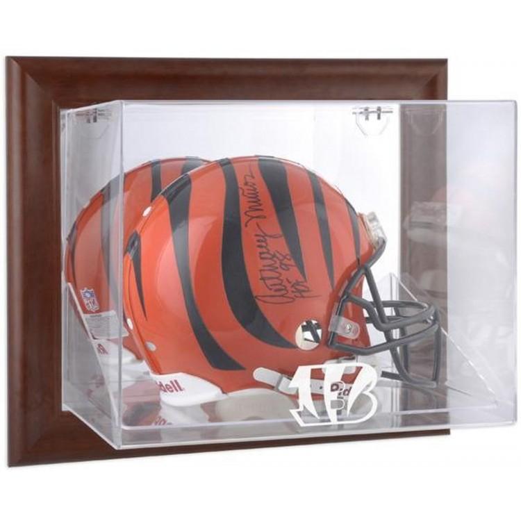 Cincinnati Bengals Brown Framed Wall-Mountable Logo Helmet Case