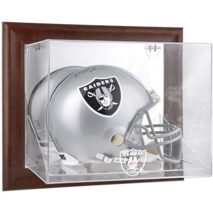 Oakland Raiders Brown Framed Wall-Mountable Logo Helmet Case