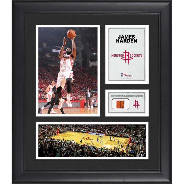 "James Harden Houston Rockets Framed 15"" x 17"" Collage with Team-Used Ball"