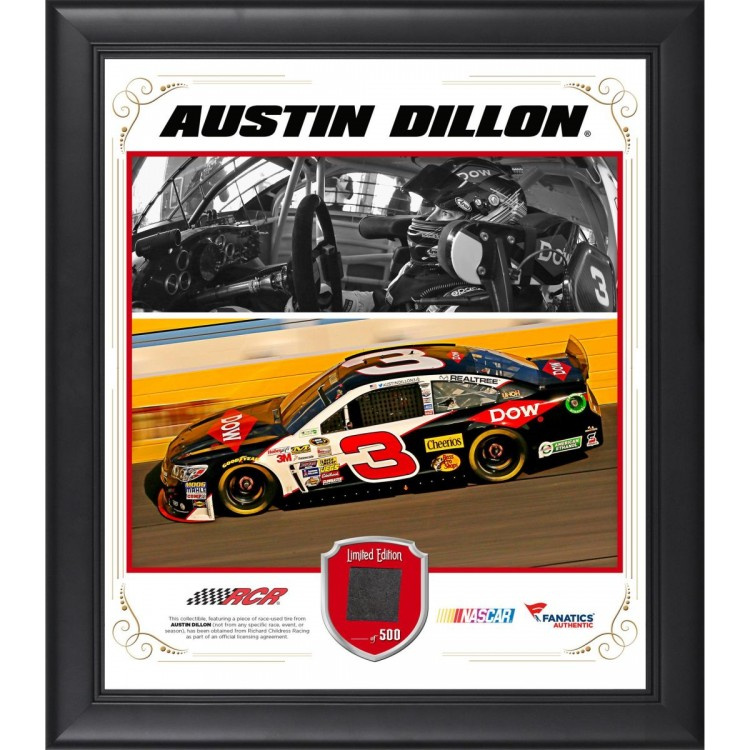 """Austin Dillon Framed 15"""" x 17"""" Composite Collage with Race-Used Tire"""