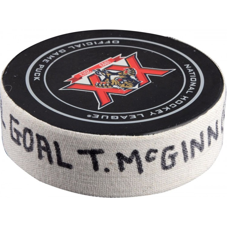 Tye McGinn Philadelphia Flyers 4/8/14 Game-Used Goal Puck at Florida Panthers