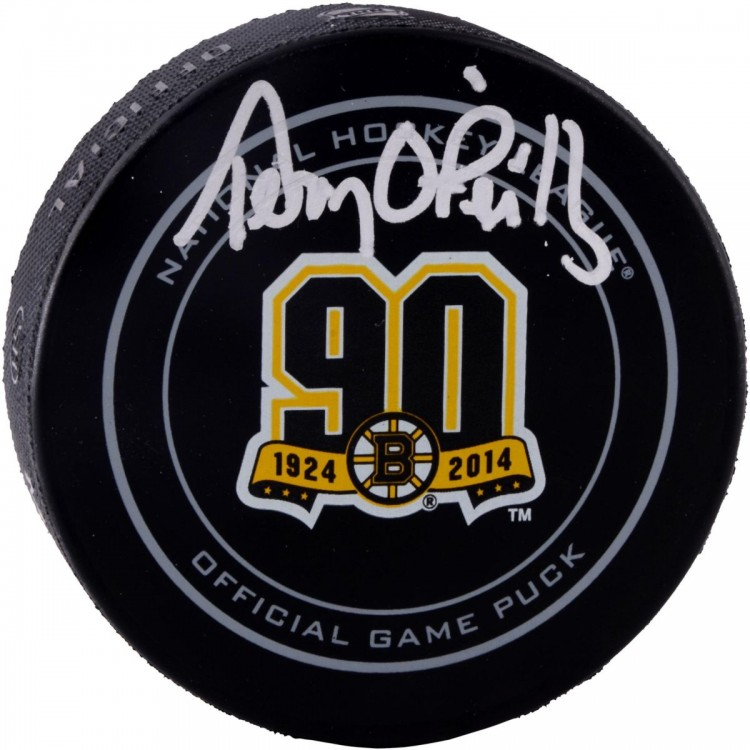 Terry O'Reilly Boston Bruins Autographed 90th Anniversary Logo Puck