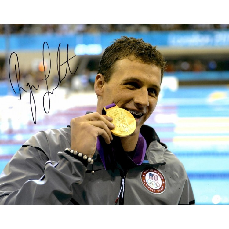 Ryan Lochte Autographed 11'' x 14'' Biting Medal Grill Photograph