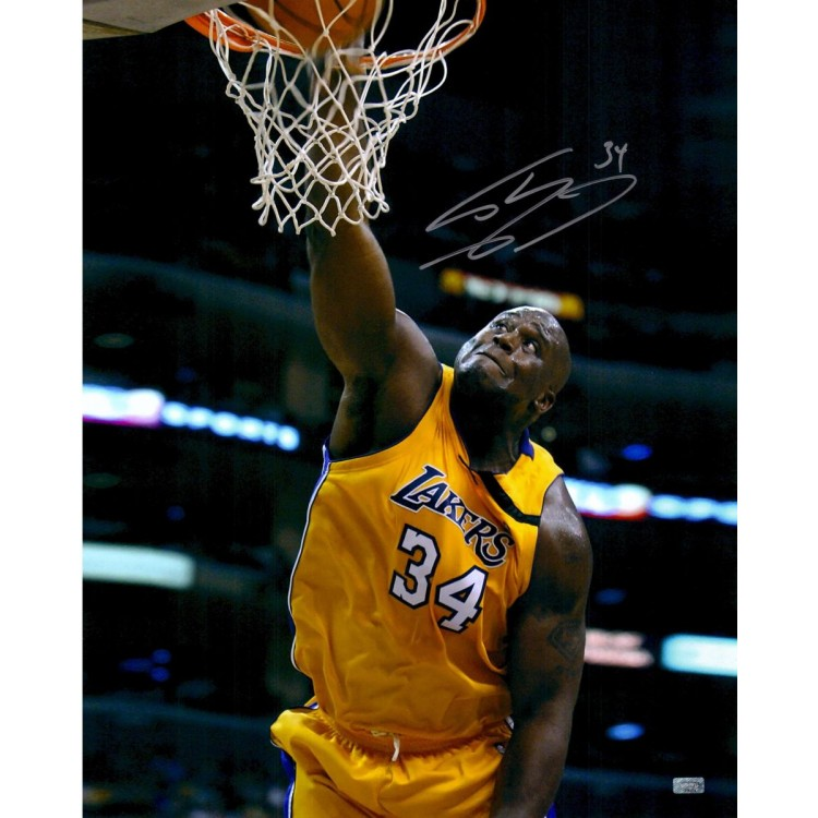 Shaquille O'Neal Los Angeles Lakers Autographed 16'' x 20'' Dunk Solo Looking Up Photograph
