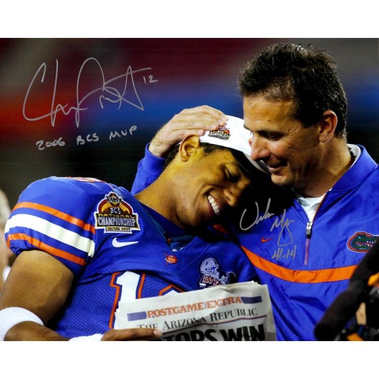 Urban Meyer, Chris Leak Florida Gators Autographed 16'' x 20'' Gators Photograph with MVP/41-14 Inscriptions
