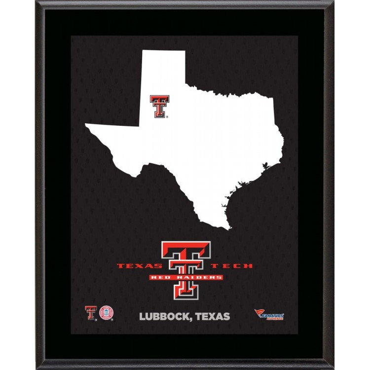 """Texas Tech Red Raiders Sublimated 10.5"""" x 13"""" State Plaque"""
