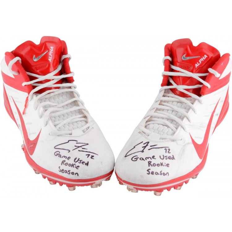 Eric Fisher Kansas City Chiefs Game-Used Red Pair Cleats
