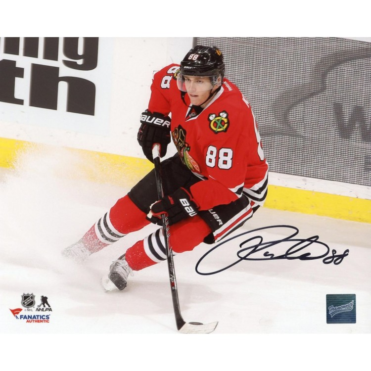 "Patrick Kane Chicago Blackhawks Autographed 8"" x 10"" Red Jersey Stopping Photograph"