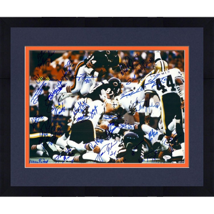 "Framed 1985 Chicago Bears Team Signed 16"" x 20"" Over Line Photograph with 31 Signatures"