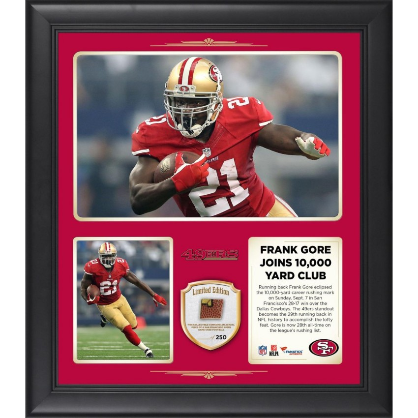 size 40 757b1 80c8c Frank Gore San Francisco 49ers Framed 10,000 Career Rushing Yards 15