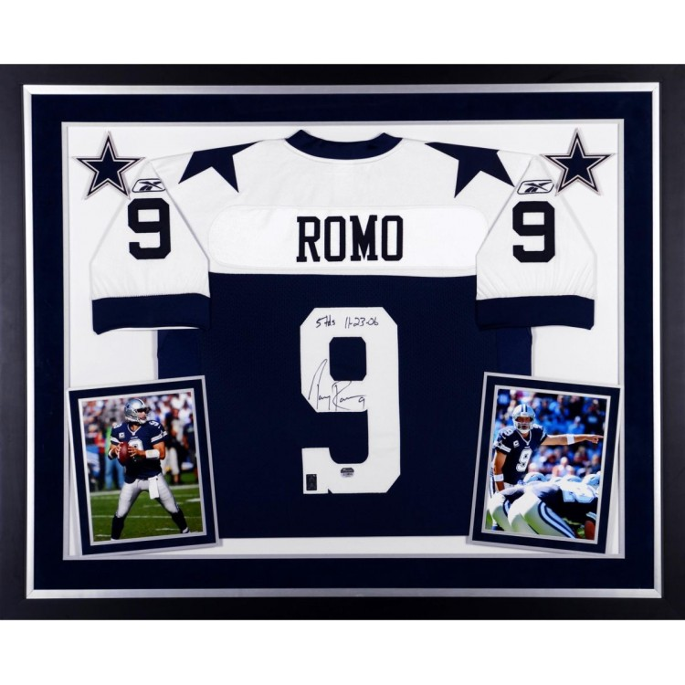 Tony Romo Dallas Cowboys Autographed Deluxe Framed Reebok Authentic Thanksgiving Day Jersey with 5 TDs 11-23-06 Inscription
