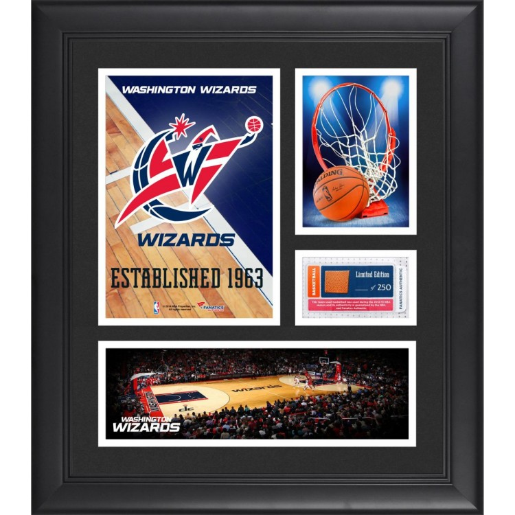 "Washington Wizards Team Logo Framed 15"" x 17"" Collage with Team-Used Baseketball"