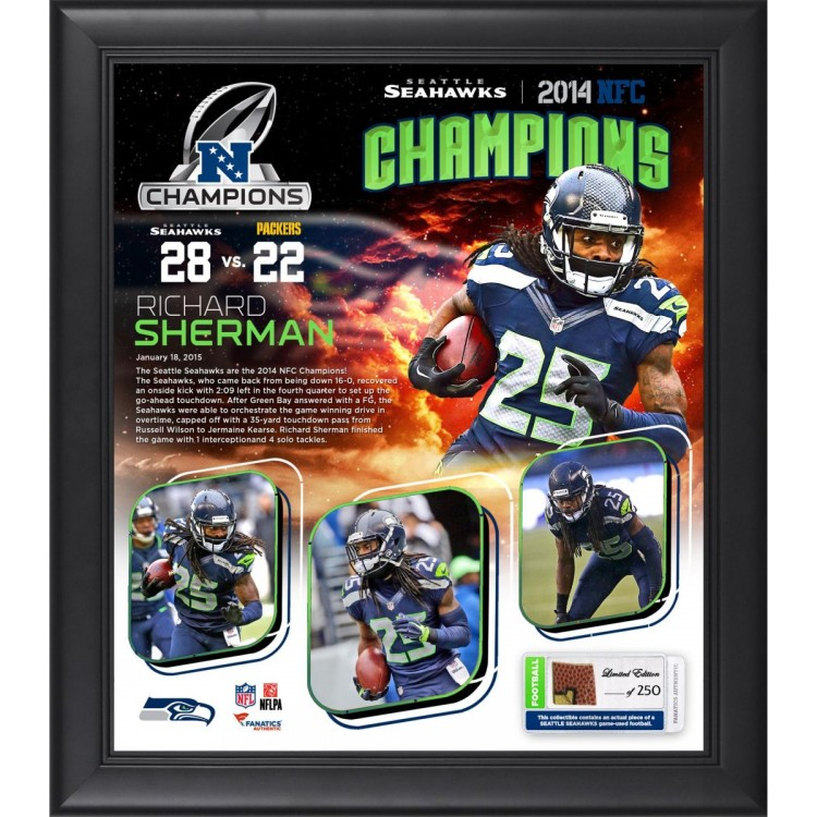 """Richard Sherman Seattle Seahawks 2014 NFC Champions Framed 15"""" x 17"""" Collage with Piece of Game-Used Football Limited Edition of 250"""
