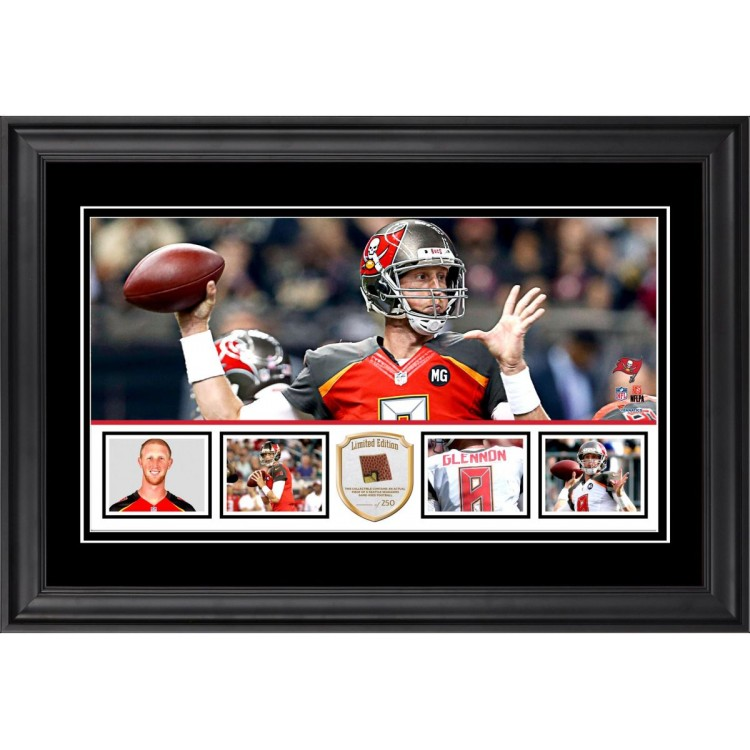 "Mike Glennon Tampa Bay Buccaneers Framed 10"" x 18""  Panoramic with Piece of Game-Used Football - Limited Edition of 250"