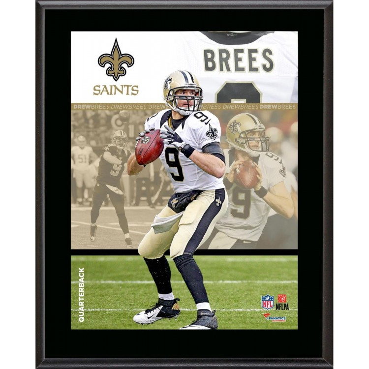 "Drew Brees New Orleans Saints Sublimated 10.5"" x 13"" Composite Plaque"