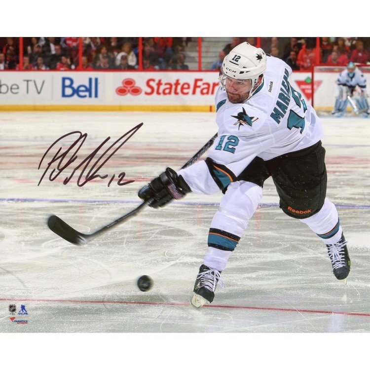 "Patrick Marleau San Jose Sharks Autographed White Jersey Shooting 8"" x 10"" Photograph"