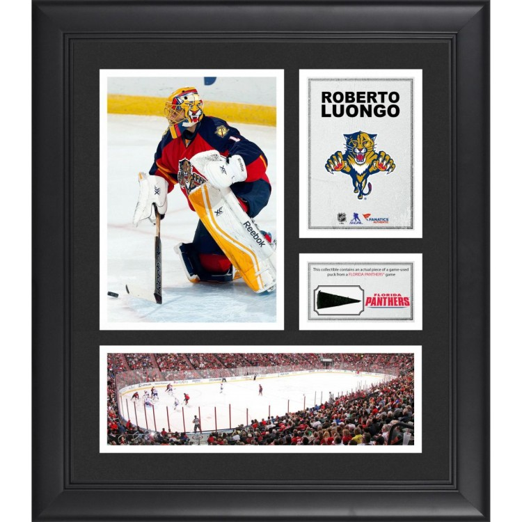 """Roberto Luongo Florida Panthers Framed 15"""" x 17"""" Collage with Piece of Game-Used Puck"""