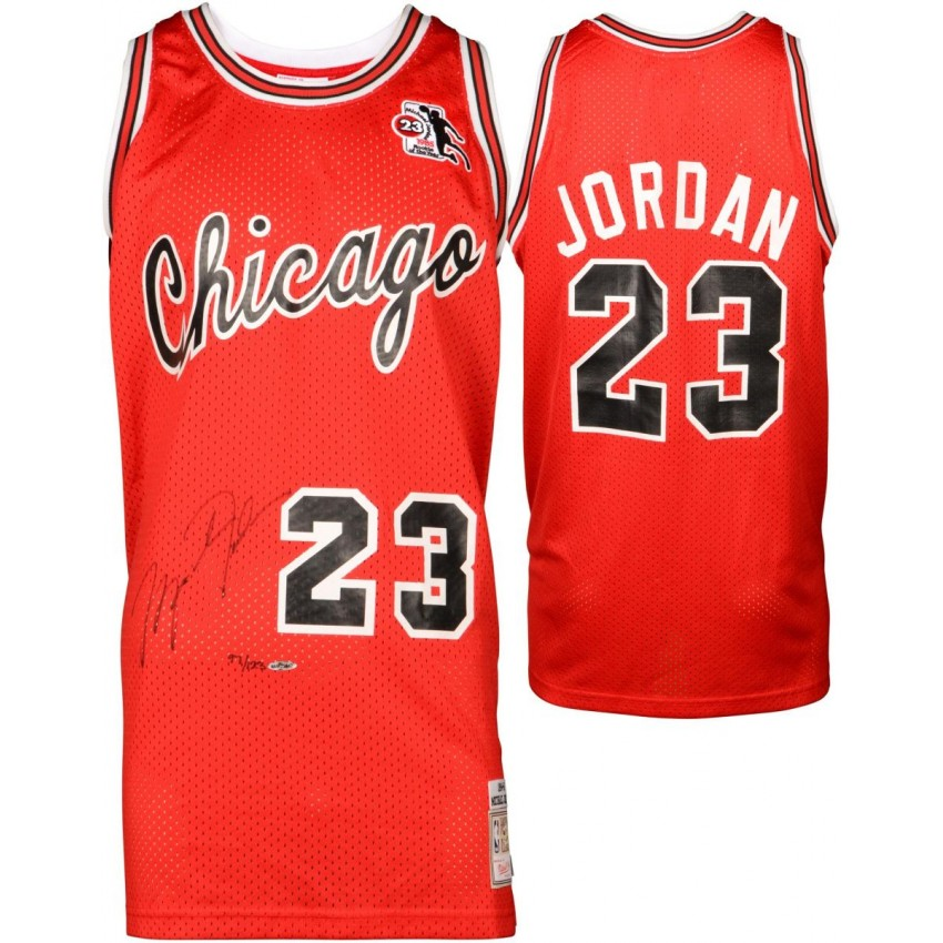 hot sale online cf8b8 8cd5d Michael Jordan Chicago Bulls Autographed Red Jersey with ROY Patch -  Limited Edition of 123 - Upper Deck