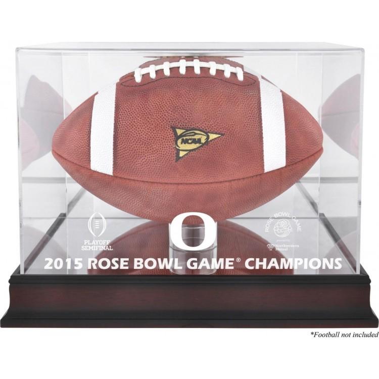 Oregon Ducks 2015 Rose Bowl Champions Team Logo Mahogany Football Display Case