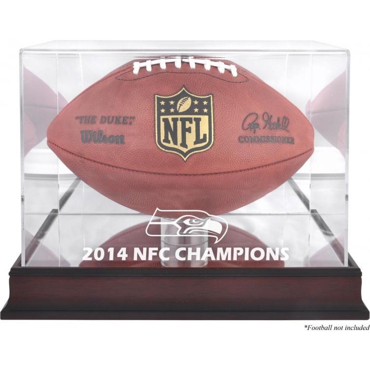 Seattle Seahawks 2014 NFC Champions Mahogany Logo Football Display Case