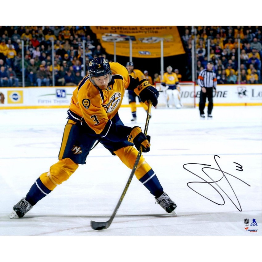 online store 0ecd7 47734 Seth Jones Nashville Predators Autographed Yellow Jersey Shooting 16