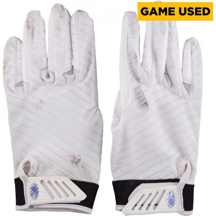 Markus Wheaton Pittsburgh Steelers Game-Used Pair of White Nike Gloves September 28, 2014 vs. Tampa Bay Buccaneers