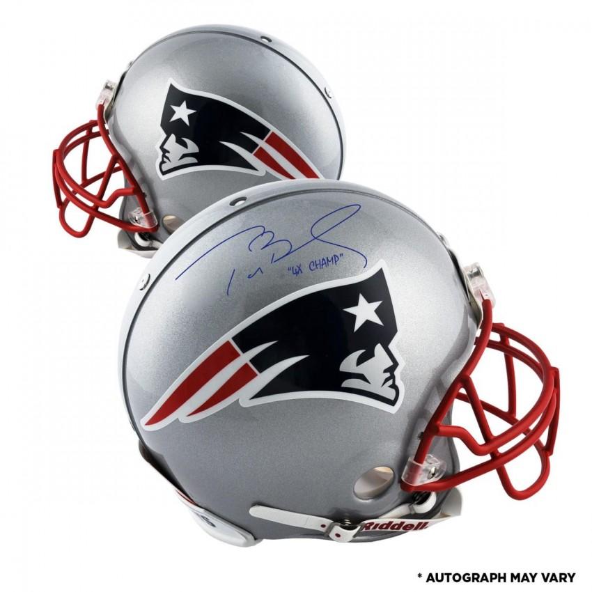 meet ebc51 0f0f9 Tom Brady New England Patriots Autographed Pro Line Helmet with 4X Champ  Inscription
