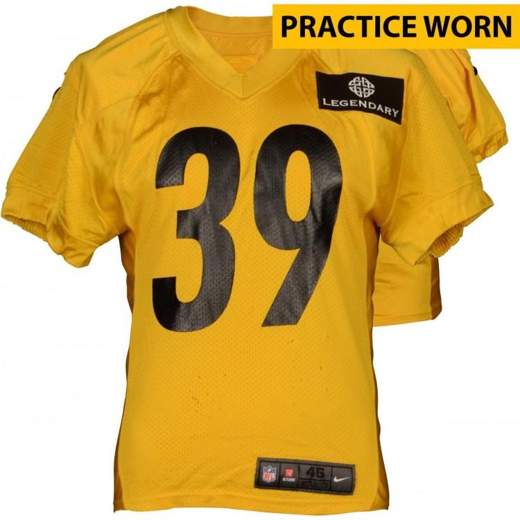 B.W. Webb #38 Pittsburgh Steelers Practice Worn Yellow Jersey from 2014 Season