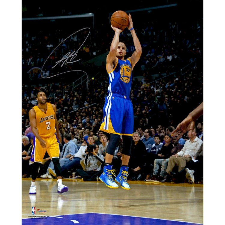 """Stephen Curry Golden State Warriors Autographed 16"""" x 20"""" Jumper Wearing Blue Jersey Photograph"""