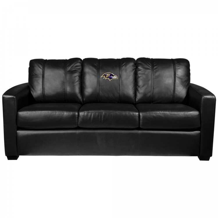Baltimore Ravens Silver Sofa with Ravens Primary Logo