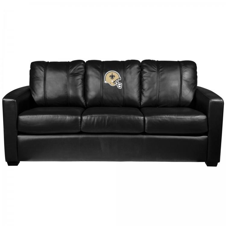 New Orleans Saints Silver Sofa with Saints Helmet Logo