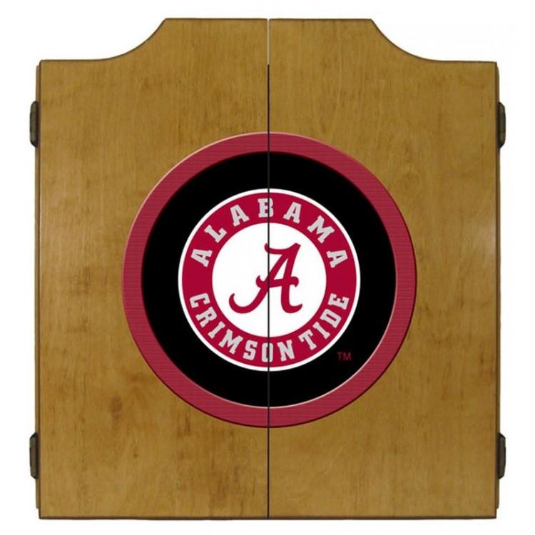 Alabama Crimson Tide Dart Cabinet-Oak Finish