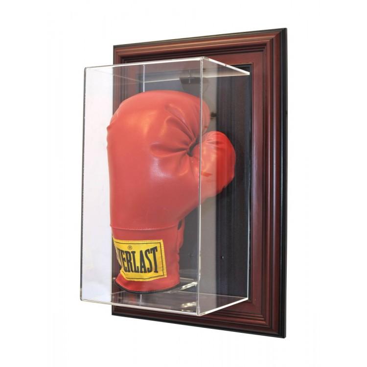 Single Stand Up Boxing Glove âœCase-Up❠Display, Mahogany