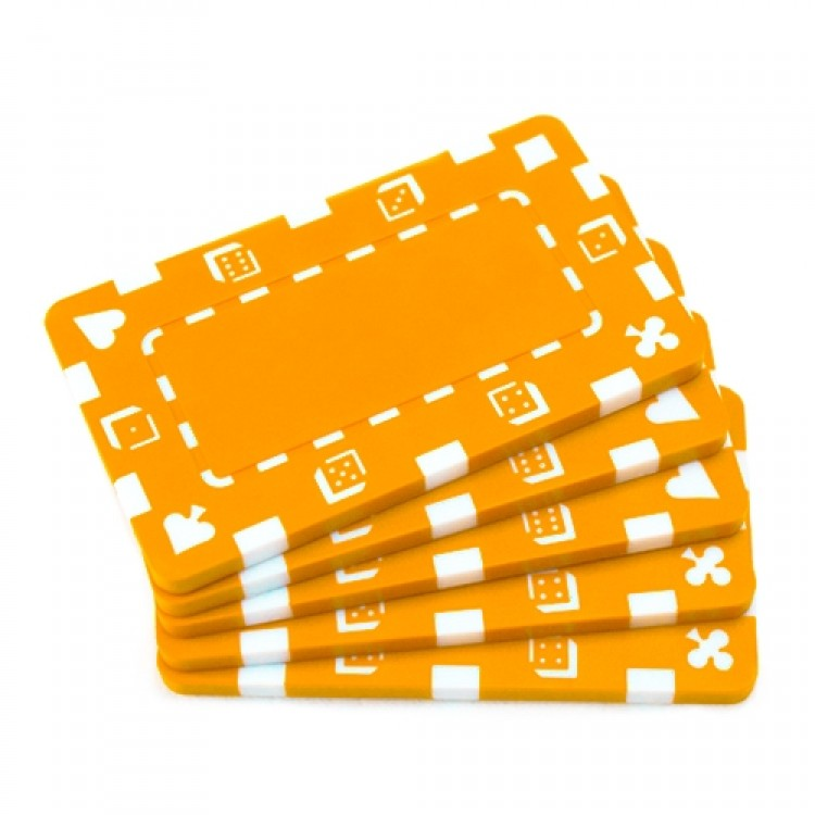 5 Orange Rectangular Poker Chips