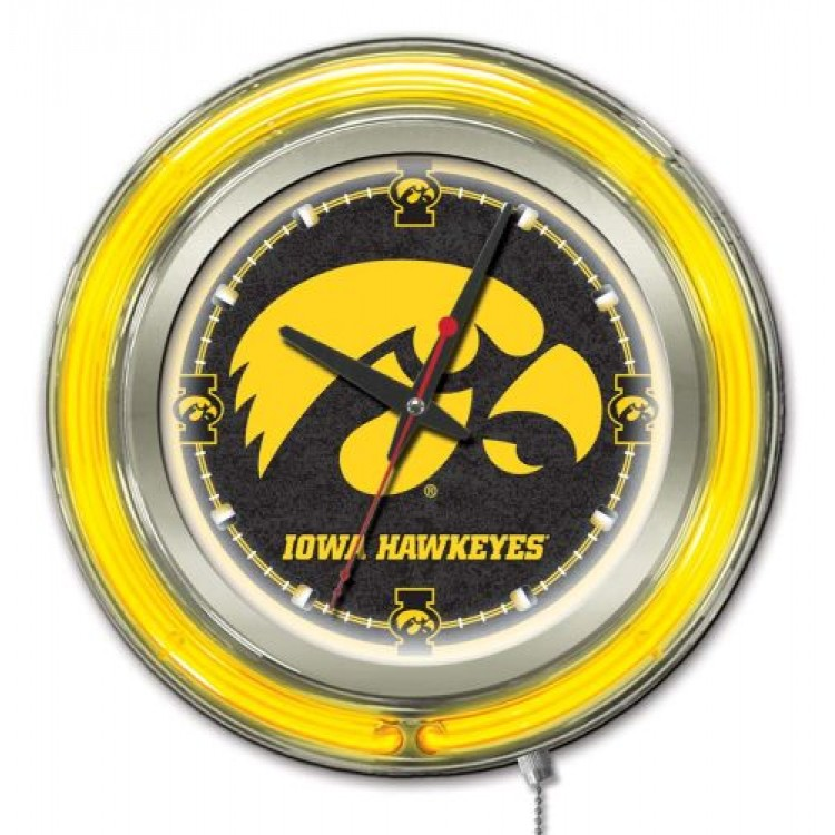 "Iowa Hawkeyes 15"" Neon Clock"