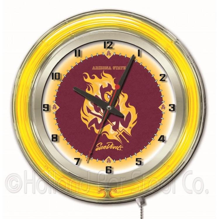 """Arizona State Sun Devils 19"""" Neon Clock"""