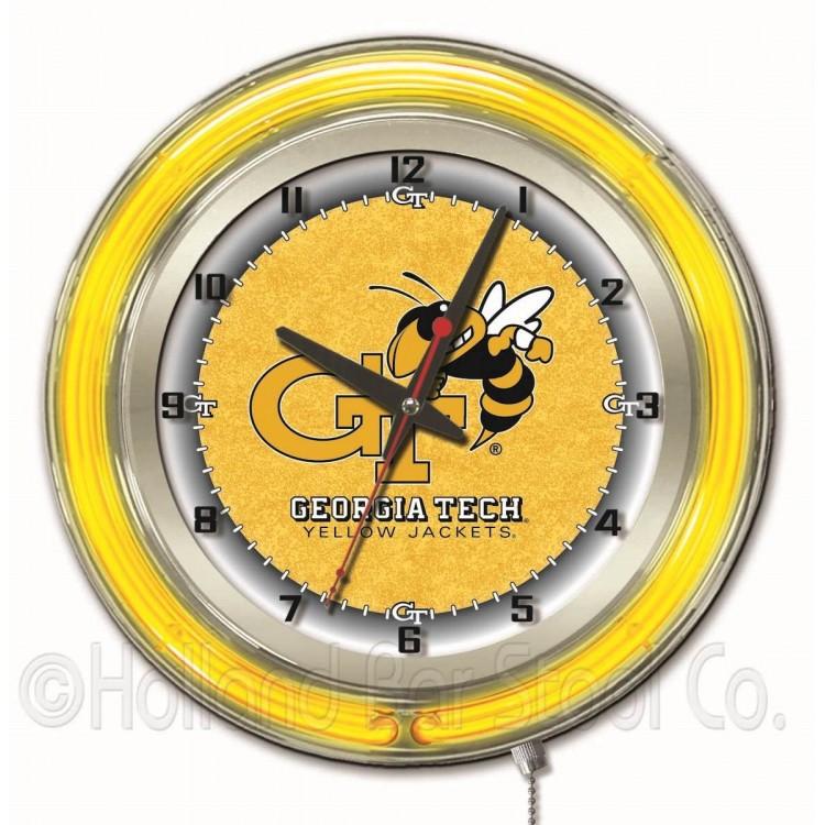 "Georgia Tech Yellow Jackets 19"" Neon Clock"