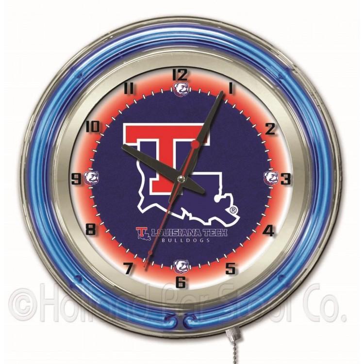 "Louisiana Tech Bulldogs 19"" Neon Clock"