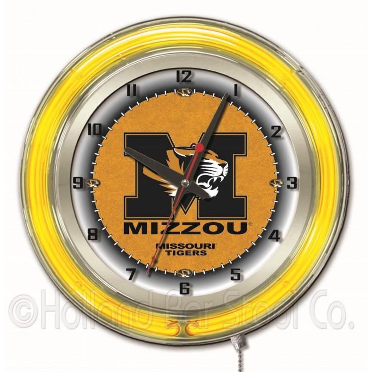"""Missouri Tigers 19"""" Neon Clock"""