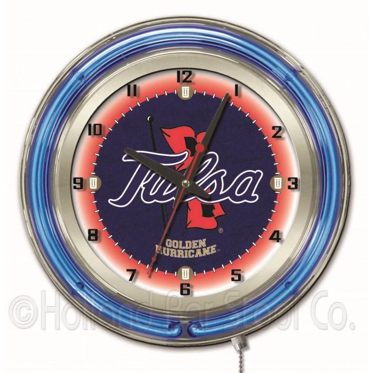 "Tulsa Hurricane 19"" Neon Clock"