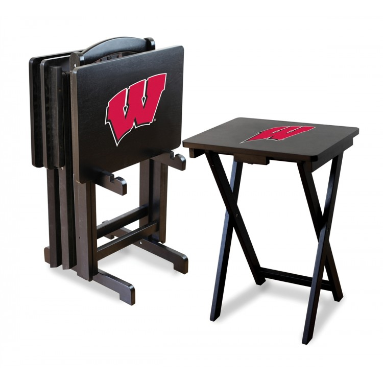 Wisconsin Badgers TV Trays w/ Stand