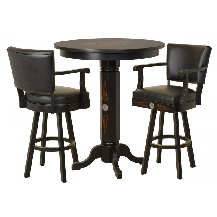 Jack Daniels Wood Pub Table & Backrest Stool Set - TN Charcoal Finish