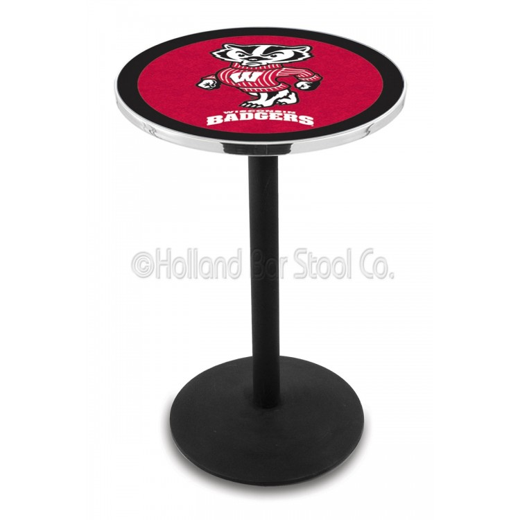 "Wisconsin Badgers 36"" L214 Black Wrinkle Pub Table"