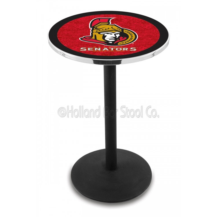 "Ottawa Senators 42"" L214 Black Wrinkle Pub Table"