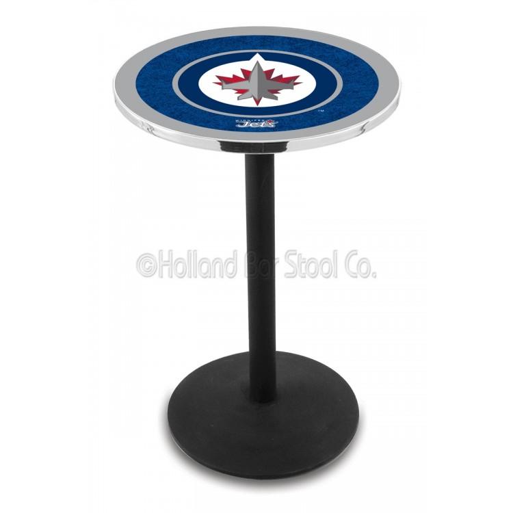 """Winnipeg Jets 42"""" L214 Black Wrinkle Pub Table"""