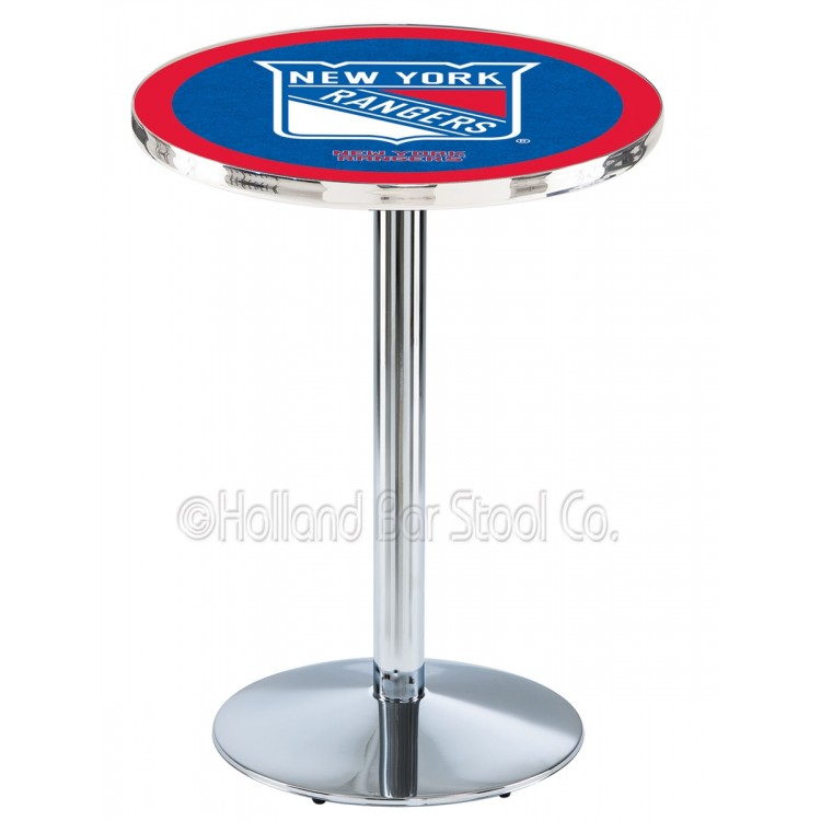 "New York Rangers 42"" L214 Chrome Pub Table"