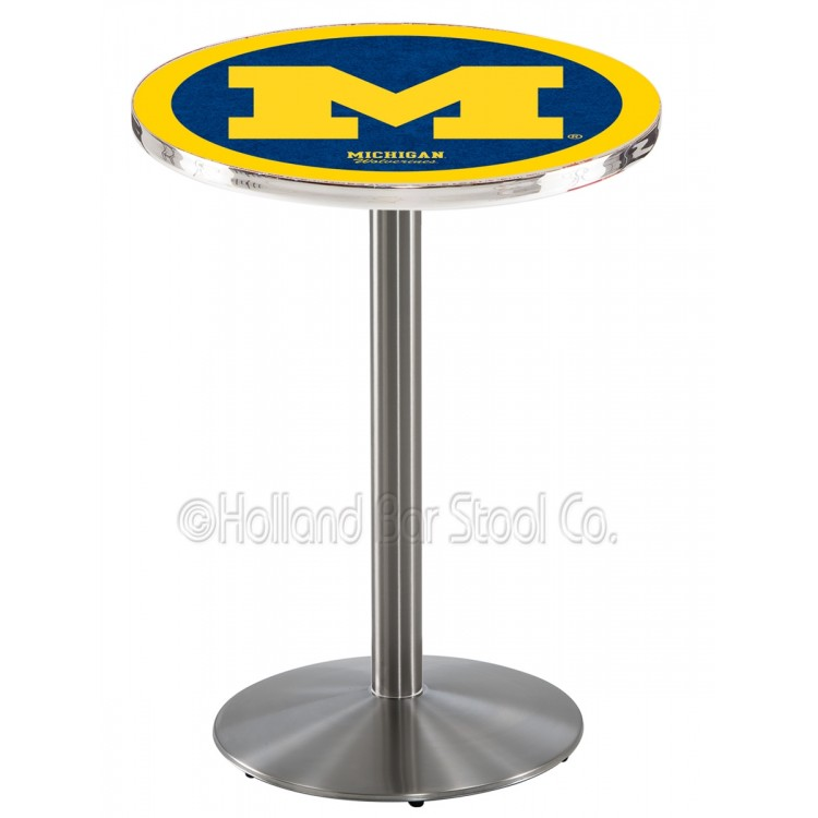 """Michigan Wolverines 36"""" L214 Stainless Steel Pub Table"""