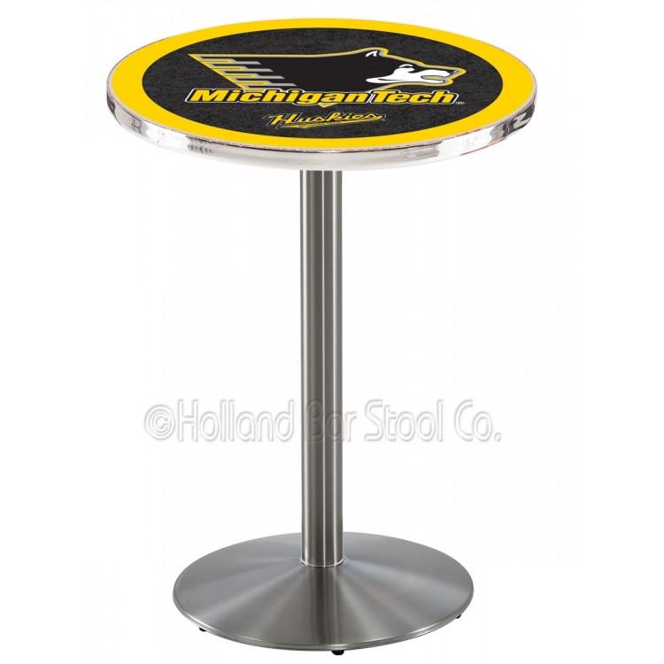 "Michigan Tech Huskies 42"" L214 Stainless Steel Pub Table"