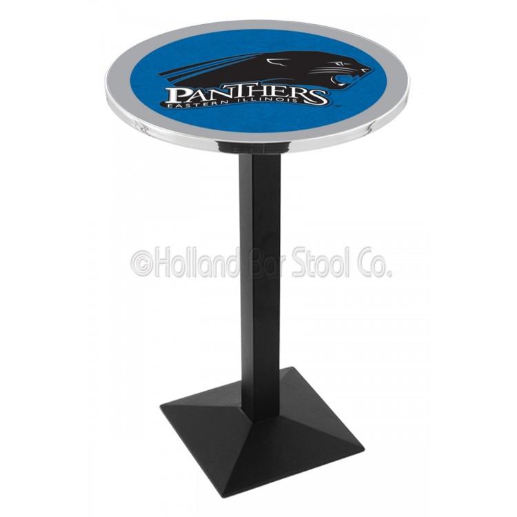 """Eastern Illinois Panthers 42"""" L217 Black Wrinkle Pub Table"""
